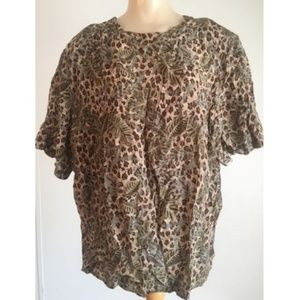 COURTWELL brown leaf print silk short slv blouse